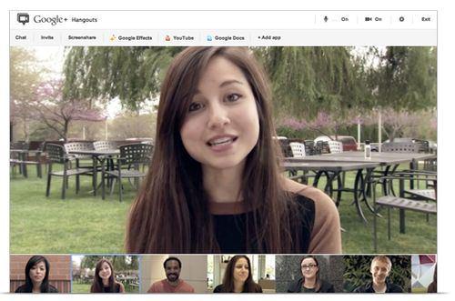 Googleハングアウトでの同時通話イメージ