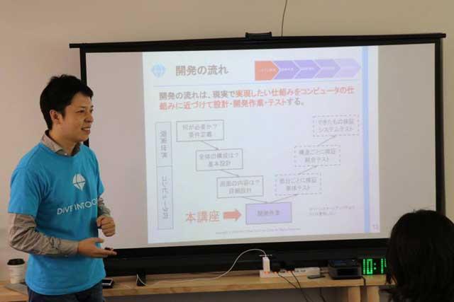 DIVE INTO CODE代表講師の野呂先生の講義風景の写真