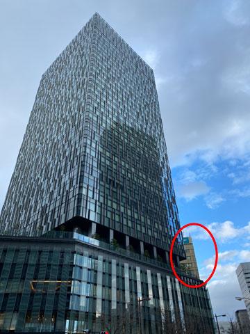 大名古屋ビルヂングに隠れるKDX名古屋駅前ビルの外観写真
