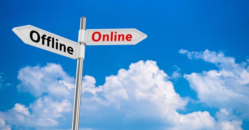 オンラインかオフラインかを選択する画像