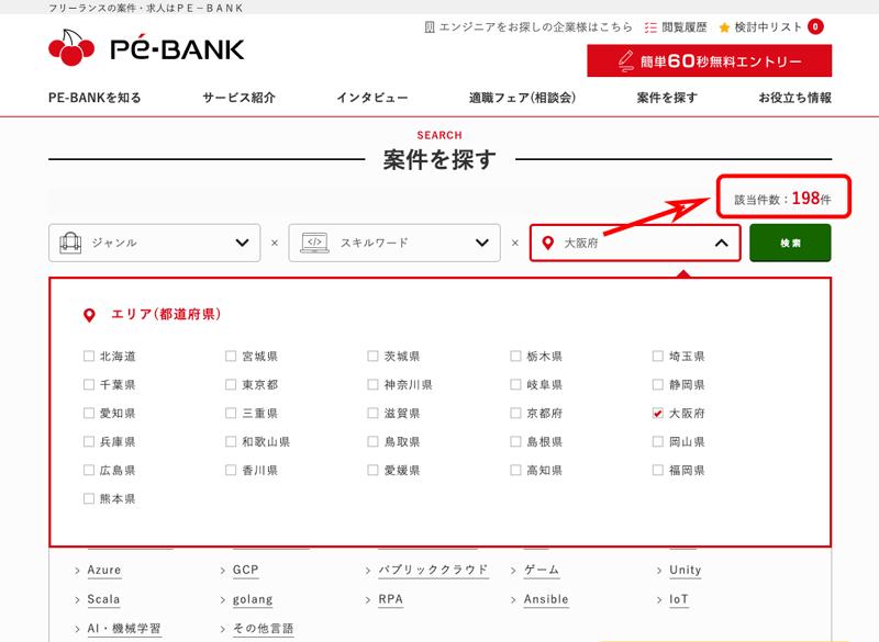 Pe-BANK(ピーイーバンク)の大阪府エリアでの案件該当件数が解る画像