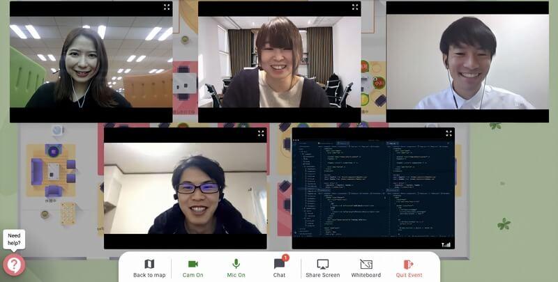 DMM WEBCAMP(DMMウェブキャンプ)でWEB会議システムRemoを使ってのチーム開発学習イメージ