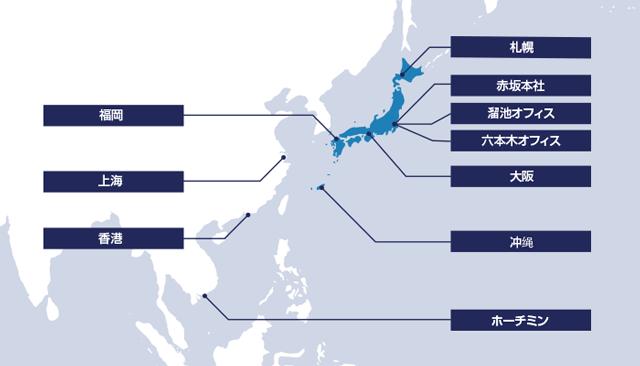 TECH STOCK(テクスト)を運営するINTLOOP株式会社の国内外拠点エリアの地図