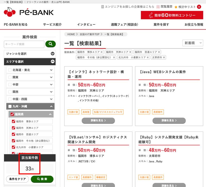 PE-BANKの福岡県で検索した時の該当案件数と案件一覧